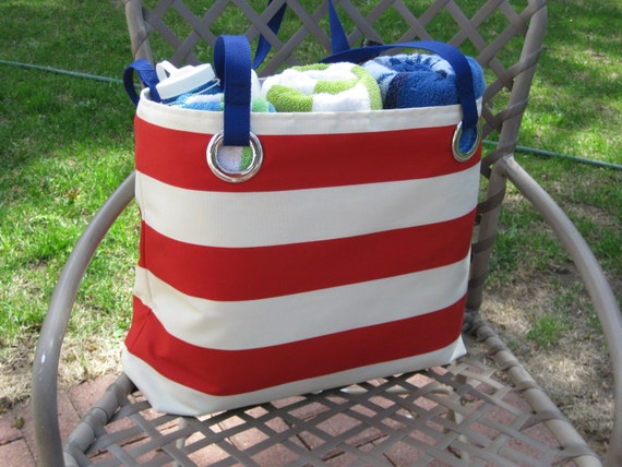 XL Nautical Beach Bag in Red Cabana Stripes