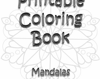 Printable Coloring Book Adult Mandalas Zen Doodle Mandala Color Pages Six Sheets ZenDoodle Bundle Therapy