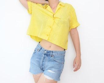 Vintage yellow lemon cropped women shirt