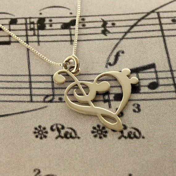 G clef bass clef heart Necklace silver music note Treble clef Pendant charm necklace music note necklace with Sterling Silver Chain