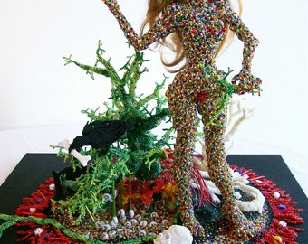 Art Object Beads Sculpture Figural Beaded Trees Mixed Media Beadwork Modern Expressionism