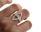 Mountains and rivers . silver stacking rings, triangle, geometric ring