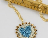 Beadwoven Heart Mandala Necklace ( French blue / ivory ) / Love Gift for Her - - - gold-filled chain