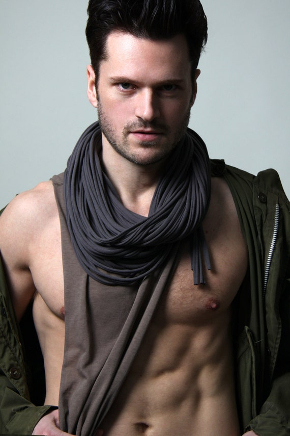 Scarfs Men Scarf And Casual On Pinterest Nice Scarves: Gray Scarf Gift Ideas Boyfriend Infinity Scarf Hipster