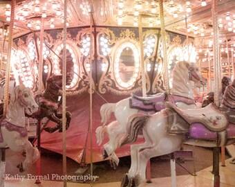 Carousel Horses, Baby Girl Nursery Decor, Merry Go Round, Carousel Horses Sparkling Twinkle Lights, Baby Girl Nursery Carousel Horses Prints