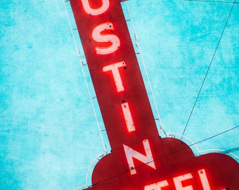 Austin Texas Wall Art, Fine Art Photography, Austin Motel, Vintage Decor, Motel Sign, Red and Turquoise, Neon Sign, Travel Photography