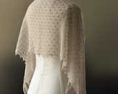 Knitted beige light tan brown merino lace scarf stole wrap - foldi