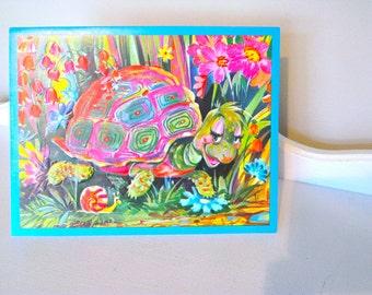 """Vintage Card - Cute Bright Turtle - Unused - Large - 9"""" x 7"""" - Nursery Wall Art - 1960's - Birthday Card"""
