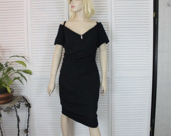 Vintage Dress 1950s Black Crepe Wiggle Dress Size 13/14