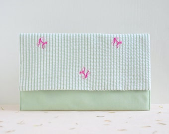 50% off - Monkey in the Forest Clutch - green purse with pink monkey pattern