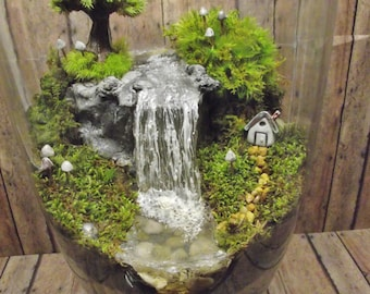 Amazing Huge Waterfall Terrarium with Raku Fired Miniature House, Tree, and glow in the dark Mushrooms - OOAK Handmade by Gypsy Raku