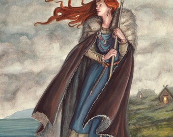 Valkyrie of the Rock - LIMITED EDITION PRINT- Watercolor and Gouache - A3 Giclee Print