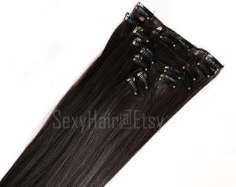 "23"" Dark Brown Hair Extensions, Clip On, Full Head Clip in Extensions - 8 Piece Set, Brown Hair, Long Hair, Thick Hair, Hair Extensions"