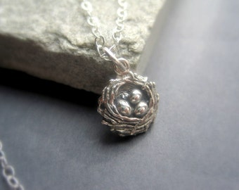Sterling Silver  Bird Nest Necklace - Tiny Bird Nest  Necklace - Sterling Silver Nature Necklace - Sterling Silver Everyday Necklace