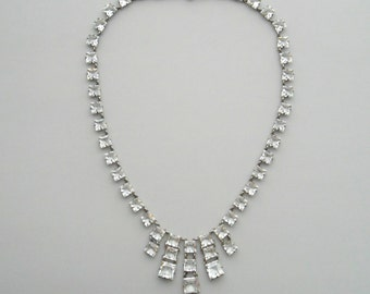Art Deco Crystal Necklace . Open Back Sterling Setting . Geometric Fringe Bib .