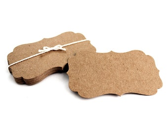 """Kraft Business Cards, 100 blank bracket cards, 3.5"""" x 2"""" die cut flat note cards, escort cards, swing tag, jewellery cards, top note"""