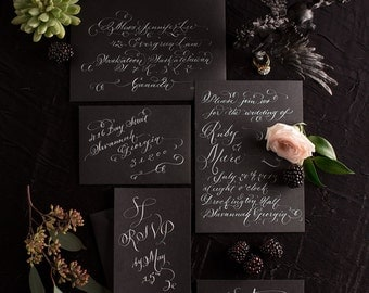 Hand Lettered Invitation Suite. White Calligraphy on Black | S a v a n n a h