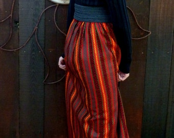 REDUCED, Vintage 1970's Maxi Skirt, 70's Fashions, Bohohemian, Gypsy, Folk, Mod