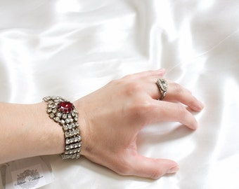 1950s Rhinestone Bracelet  / Ruby Red /  Vintage Jewelry - Hollywood Regency