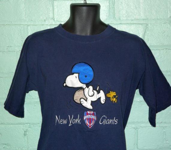 Vintage 80s 90s New York Giants Snoopy Woodstock T Shirt Tee