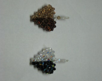 SWAROVSKI CRYSTAL 3-D Puffy Heart Pendant in Crystal Ab and Jet Ab, Side by Side Two Tone Colors