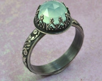 Blue Aqua Chalcedony Ring in Sterling Silver, Faceted Blue Aqua Chalcedony Stone, Solitaire Engagement Promise Ring