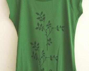 Bird and Plants Womens bamboo organic  green T shirt