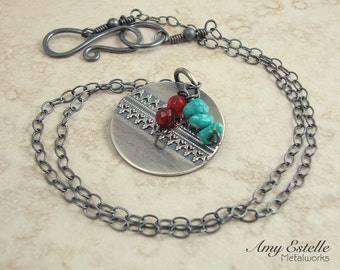 Sterling Silver Boho Necklace - Turquoise Carnelian Necklace - Layering Necklace - Handmade Jewelry