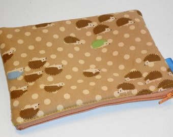 XL Padded Zippy Pouch / Kawaii Hedgehogs Clutch Purse /.Cosmetic Bag / Handbag Organizer / Woodland Travel Case - Other Colors Available