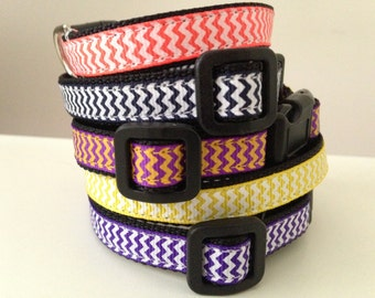 1/2 inch Small Chevron Dog Collar NEW COLORS