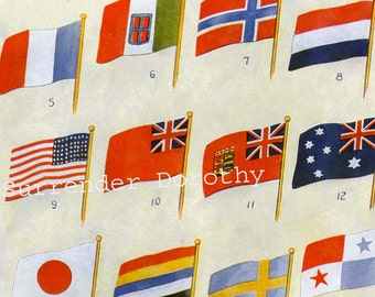National Flag Chart Banners Of Many Nations 1915 Vintage Lithograph Print To Frame