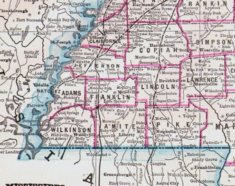 Mississippi Map USA State Large Antique Copper Engraving Vintage North American Cartography 1892 Victorian Geography Art To Frame