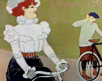 Cless & Plessing Bicycle Brynolf Wennerberg Sweden 1898 Art Nouveau Lithograph Poster Transportation Ad To Frame