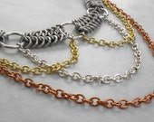 The Collector - Silver Chainmaille Choker - Chainmaille Necklace - Copper Gold and Silver Layer Necklace Steampunk Jewelry Victorian Jewelry