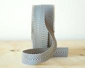 Black and White Chevron Twill Tape Ribbon .75 Inch 5 Yards Striped Ribbon