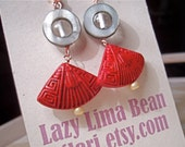 Fan Me with Cinnabar - Cinnabar, Shell and Glass Earrings