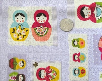 MATRYOSHKA Dolls Japanes Fabric (Lavender) 1FQ