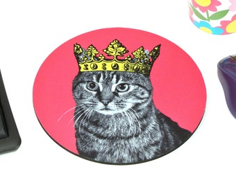 Tabby in a Crown cats kitten TABBIES rule mouse pad oh yeah mousepad