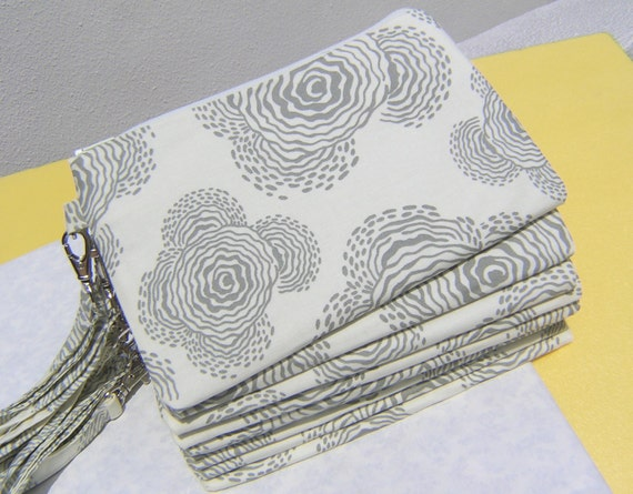 WEDDING CLUTCH 2 pockets,cotton,discount plan, medium,wristlet,makeup pouch --- Floating Buds in Gray