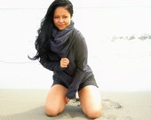The Sand Dollar Cowl Neck Top in Organic Hemp Fleece. Made to order.