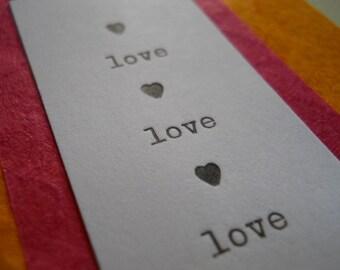love love love little letterpress card