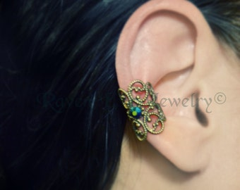 Baroque Filigree Ear Cuff  Earring Elelgant No Pierce non pierced Choose your own stone accent
