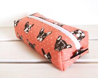 Long box pouch -- French bulldog in salmon