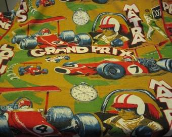 Vintage Heavy Duty Twin Size Race Car Themed Bed Cover