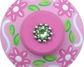 Pink Green FLOWERS Swarovski Crystal Jeweled Hand Painted Wood Girl Nursery Kids Decorative Dresser Furniture Childrens Drawer Knobs Pulls