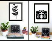 Modern Black and White Birds and Elephants Screenprint Set Wall Art - Hand Silkscreen printed Art Prints