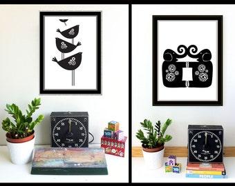 Modern Black and White Birds and Elephants Screenprint Set Wall Art - Hand Silkscreen printed Art Prints