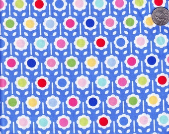 Pam Kitty Happy Dot in Blue - Lakehouse cotton quilt fabric - fat quarter