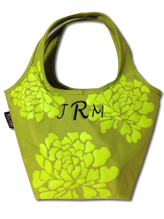 School or Office Floral Insulated Lunch or Drink Tote Monogrammed Bag