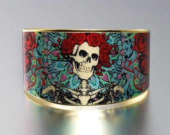 Photo Cuff, Brass Cuff Bracelet, Altered Art Jewelry, Photo Jewelry - Deadhead Skeleton and Roses - Sealed in Resin - Free USA Shipping
